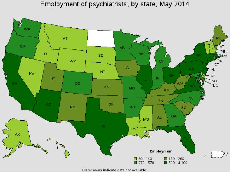 Employment of psychiatrists